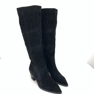 Rowena Black Suede Knee High Pointy Boot